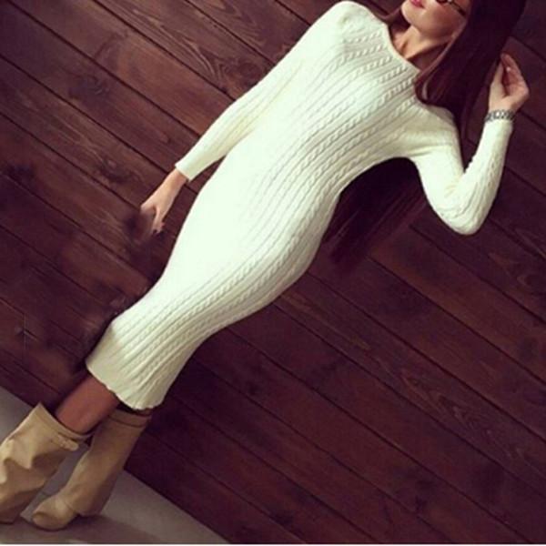 Damenmode Twisted Back Slit Pullover Kleid Solid Dames Strick Pull Femme Langarm Midi Pullover Pullover Kleider Y19051001