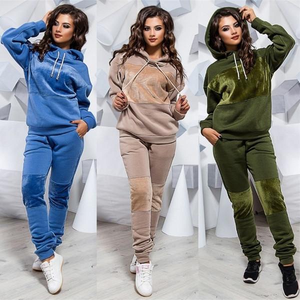 Mujeres de invierno con capucha 2pcs conjunto de moda con paneles 2pcs pantalones ropa casual para mujer