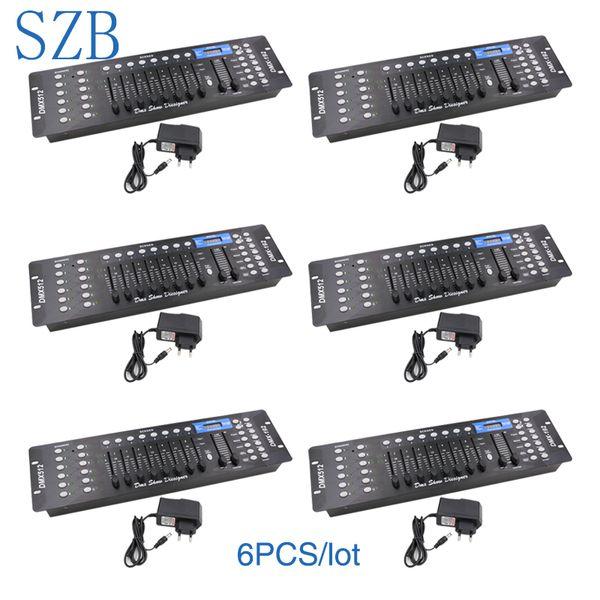 SZB 6 unids / lote 192 DMX Controller DMX512 Controlador DJ Controlador de iluminación para equipos de luces de escenario / SZB-DISCO192