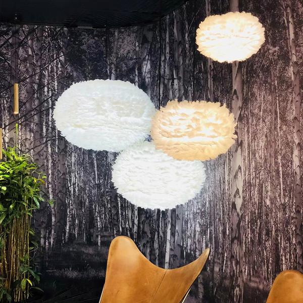 Lámparas colgantes de plumas blancas Luces LED Luces colgantes románticas modernas Iluminación interior para interiores Restaurante Comedor Vestíbulo Sala de estar Luz