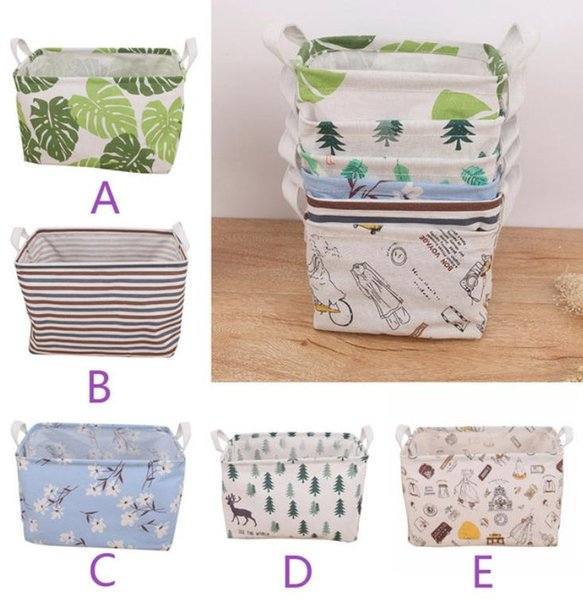 2019 New Fashion Waterproof Canvas Laundry Clothes Desktop Debris Basket Storage Box Folding With hIgh Quality Hot Sale Home