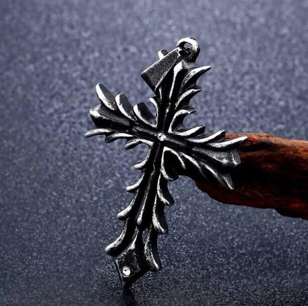 Gothic Carved Flower Grain Cross Necklace Mens Titanium Steel Inlay Diamond Punk Christian Pendant Necklaces Men Collar Friendship Jewelry