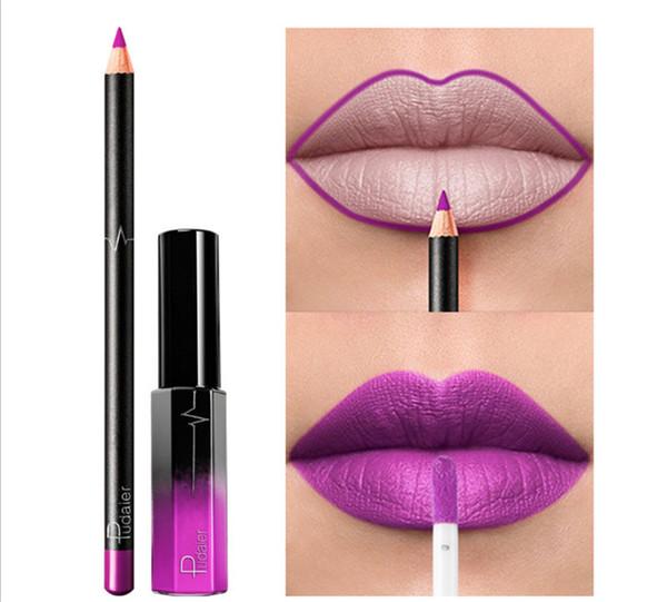 Pudaier Fashion Queen 36 Farbe Matte Lipgloss + Lip Liner Make-up-Anzug Nein Fade-Finish Lipgloss Wasserdicht P1-18
