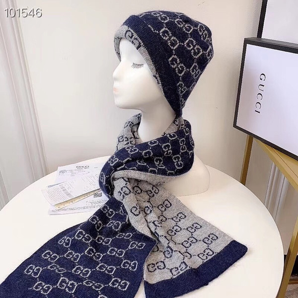 2019 Top Quality Celebrity design Letter Printing Woolen Double-sided Scarf Men Woman Cashmere wool Scarf hat 2pc 391246 4G200 1160 003