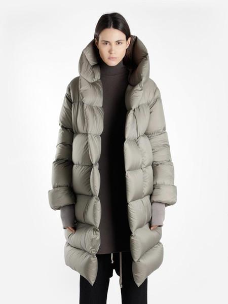 Kadınlar 2019 Kış Yeni tasarım Marka Süper kalite Boy kapşonlu Kalın Sıcak 90% Beyaz Aşağı Parka Uzun Coat Kadın giyim