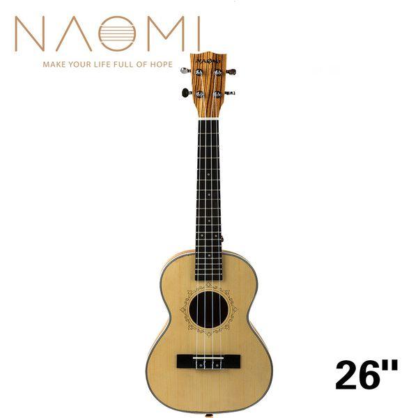top popular NAOMI 26 Inch Ukulele Solid Spruce Top Zebrawood Back Mahogany Ukulele 4 String Hawaii Guitar Tenor Ukulele NEW 2021