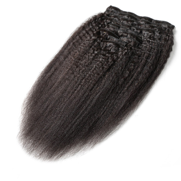 9pcs/set Kinky Straight Clips In Brazilian Human Hair Extensions 120g 9pcs/Set Coarse Yaki Clip Ins hair extensions cheap human remy hair