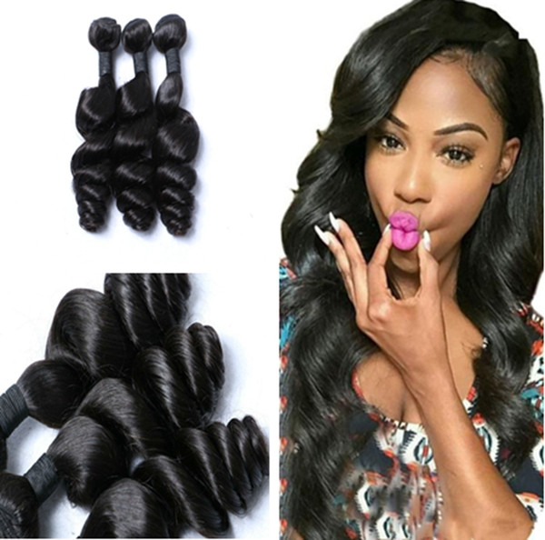 8A Non Transformés 3pcs / lot Couleur Naturelle Vierge Malaisienne Vague Lâche Extensions de Cheveux Longueur 8-30 Pouce