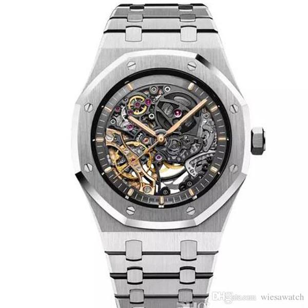 Limitado Royal Oak Rueda de equilibrio doble Deslizante calada Relojes automáticos de acero inoxidable Dial negro 15407 Reloj 41mm Reloj de pulsera para hombre