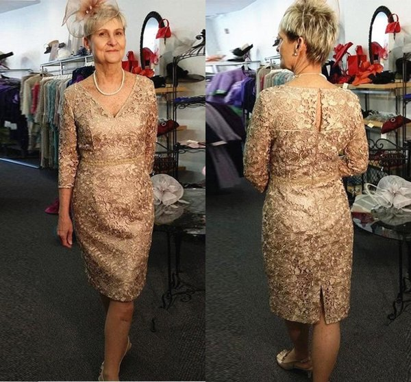 2019 Mother Of The Bride Dresses V Neck Gold Full Lace Long Sleeves Belt  Knee Length Wedding Guest Dress Plus Size Mother Gowns Von Maur Mother Of  The ...