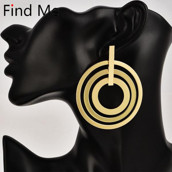 Find Me 2019 neue mode Vintage einfache legierung Ohrringe für Frauen Schmuck mehrschichtigen großen kreis baumeln Ohrringe großhandel
