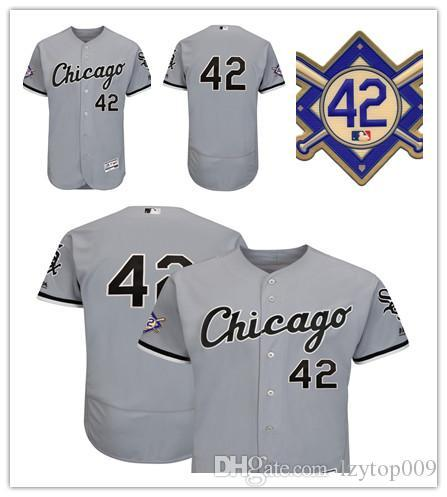 Men's White Sox 42 Majestic Gray 2018 Jackie Robinson Day Authentic Flex Base Chicago Jersey