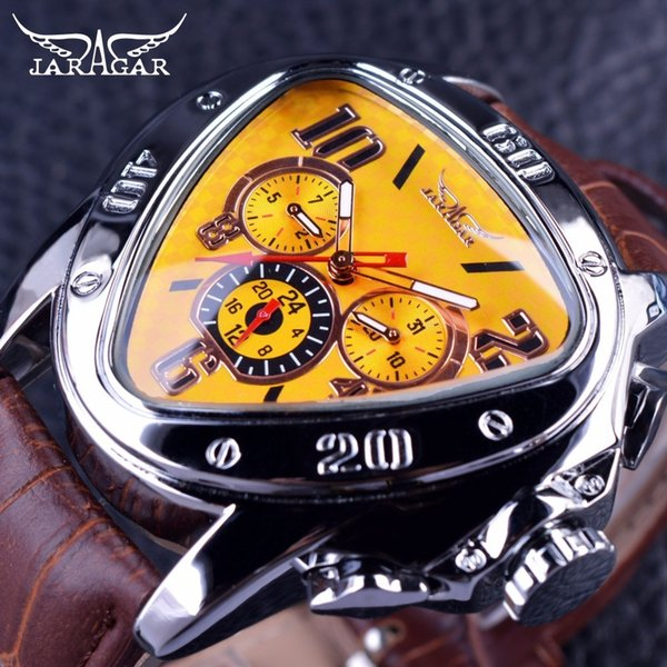 Jaragar Sport Fashion Design Geometric Triangle Case Brown Leather Strap 3 Dial Men Watch Top Brand Luxury Automatic Watch Clock Y19051603
