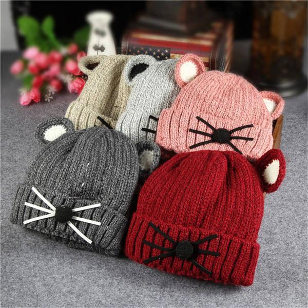 Sombrero del bebé Invierno Infantil Niño Niña casquillo caliente lindo gatito capó gruesa felpa sombrero hecho punto de ganchillo Beanie Niños