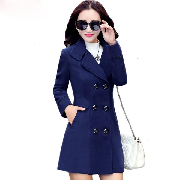 wool coat blends woolens overcoat female coat autumn winter coats and jackets plus size coat womens long  647