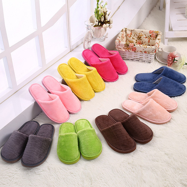 Candy Color Men Women Indoor Slippers EVA Sole Non Slip Floor Slipper Winter Warm Soft Cotton Simply Shoes