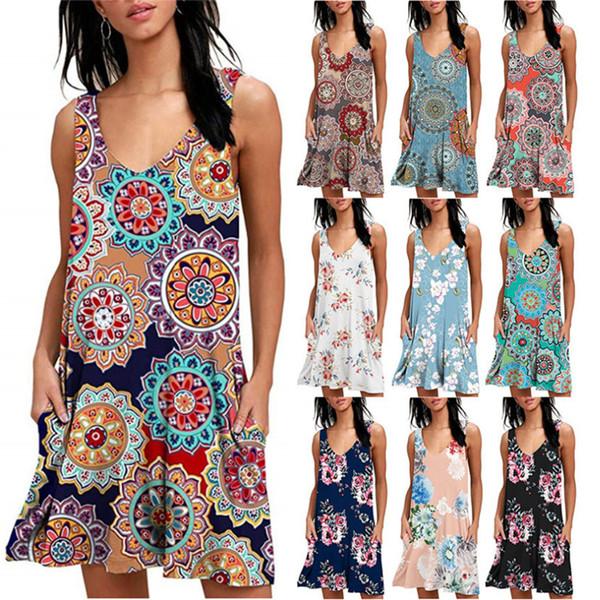top popular 10 Style Women Mini Dress Bohemian Floral Print Summer Boho Loose Spandex Daily Sexy Sleeveless V Collar Pocket MMA1862-1 2019