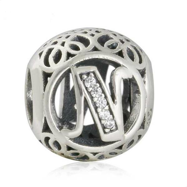 Neue Populäre Echt 925 Sterling Silber Buchstabe N Perlen Charms Fit Europäischen Armbänder Schlangenkette Europa Mode Silber Perlen DIY Schmuck