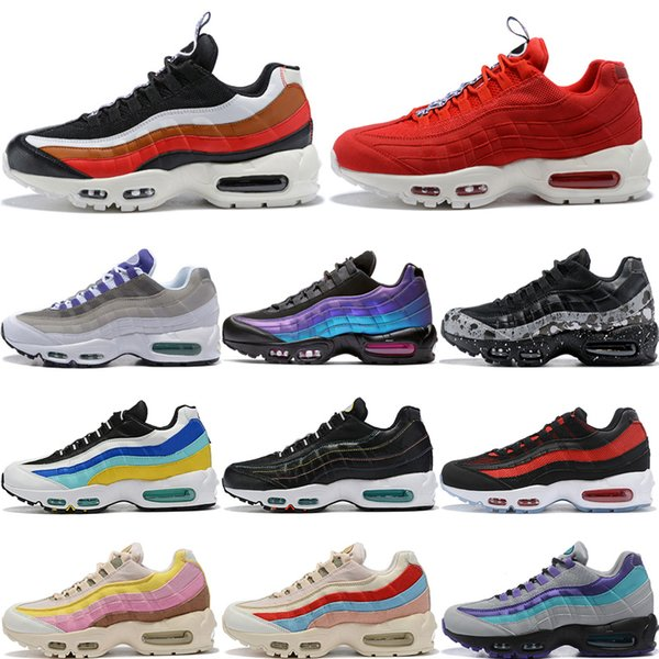 Compre Nike Air Max 95 Shoes TT Negro Rojo Moda Hombres Mujeres Zapatos Para Correr Laser Fuchsia Plant Color Neon Aqua Teal Nebula Hombre Entrenador