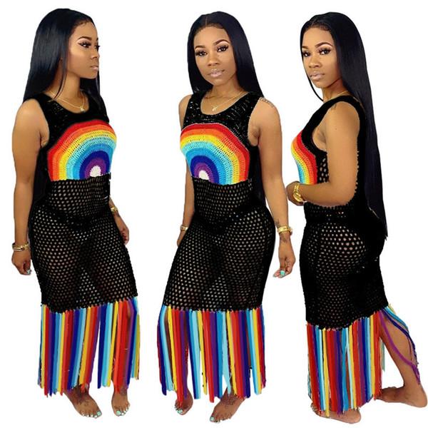 Women Mesh Dress Hollow Out Long Tassel Dresses Beachwear Summer Rainbow Color Bodycone Skirt Biniki Swimwear Cover-ups S-3XL A52106