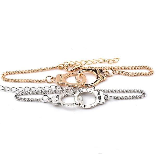 Freedom Handcuffs Bracelets For Women Fashion Carved FREEDON CoFreedom Handcuffs Bracelets For Womeuples lock Bracelets & Bangles Free Shipp