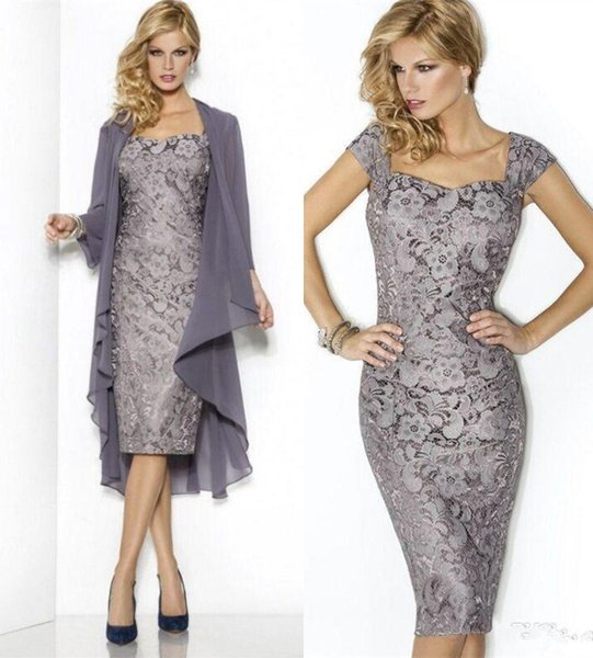 Cap Sleeves Vintage Lace Mother of the Bride Dress with Chiffon Shawl Elegant Mother Wedding Party Dresses Wear