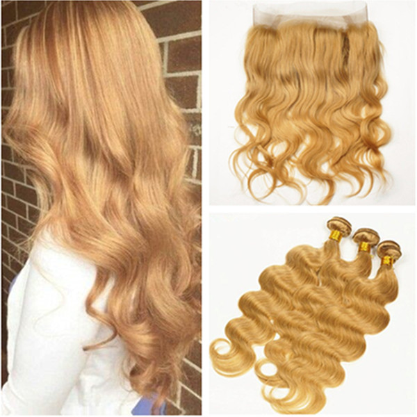 Miele Bionda Indiano Capelli umani 3 Bundles con 360 Frontal Body Wave # 27 Strawberry Blonde Hair Weaves with 360 Band Lace Closure 22.5x4x2