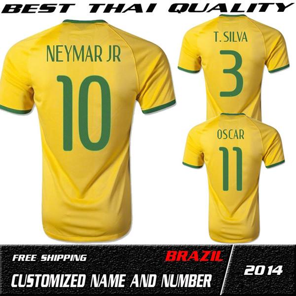Qualidade superior 2014 brasil copa do mundo brasil casa fã amarelo futebol jersey de futebol 2014 brasil adulto homem neymar jr oscar camisa de futebol 4xl 5xl