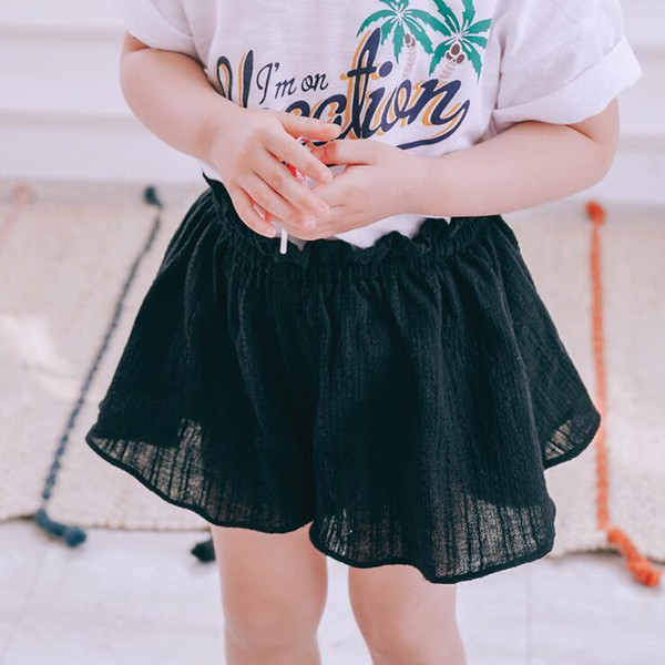 WNLEIGEL girls fake two solid shorts kids cotton all match black brown khaki skirt-short baby casual clothes children 2-7 years