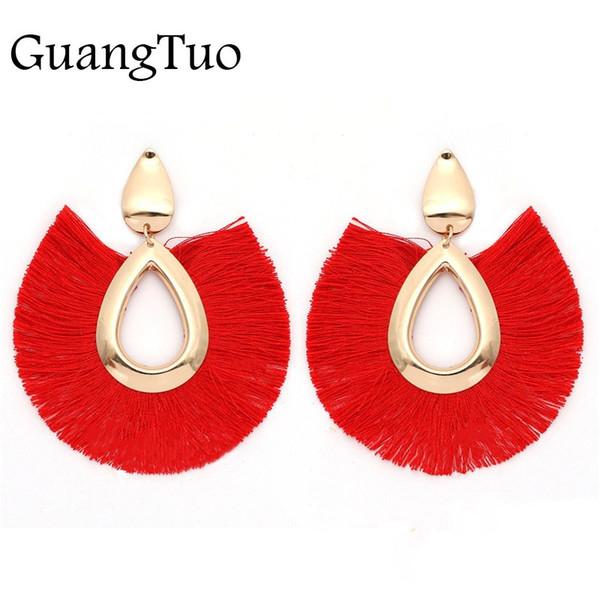 EK2127 19 Colors Ethnic Alloy Fan Tassel Earrings Bohemia Fringe Earrings 2018 Waterdrop Tassel Dangles Earring Vintage Jewelry