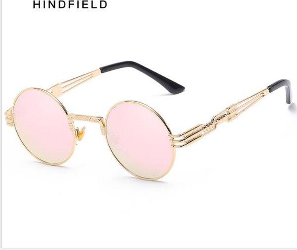 Gafas de sol para hombre Marco circular de metal Gafas de primavera Gafas de sol para mujer