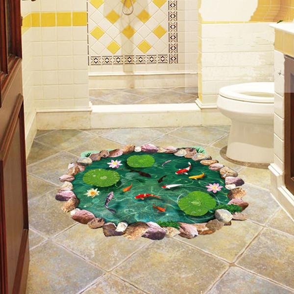 3d lotusteich fisch boden aufkleber bad wohnzimmer boden dekoration wandbild für wohnkultur wandtattoos tapeten aufkleber