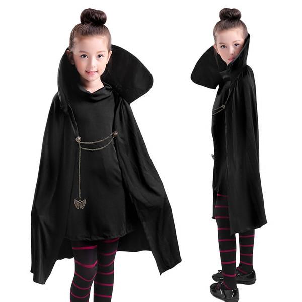 Cartoon Hotel Transylvania Mavis Cosplay Costume Fancy Girls Black Cape Coat wig With T-shirt pants Halloween Carnival Costume