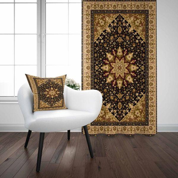 Else Yellow Black Antique Turkish Ottoman Vintage 3D Print Living Room Bedroom Window Panel Curtain Combine Gift Pillow Case