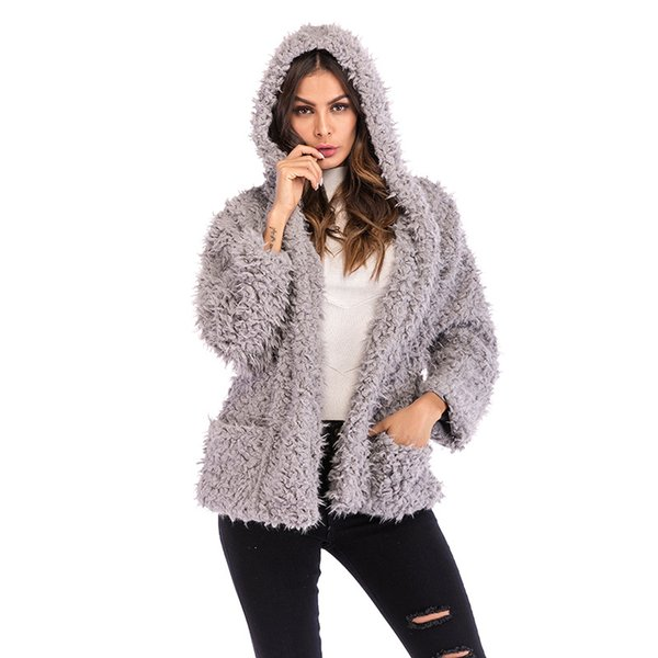 Furry coat hooded jacket female new fashion long-sleeved loose thick warm coat autumn and winter teddy Turn-down Collar