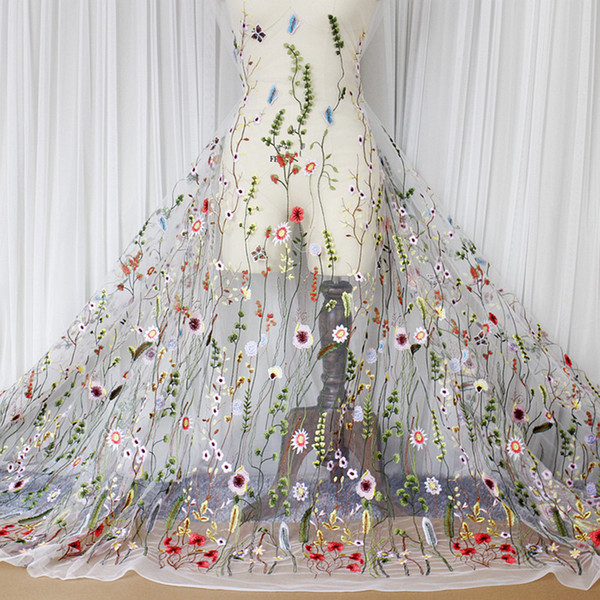 best selling 3D Floral Embroidered Tulle Fabric Textile Mesh Material Lace Flower Bridal Top 10 Wedding Dresses Cloth