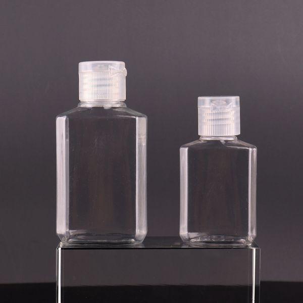 top popular 30ml 60ml Empty PET plastic bottle with flip cap transparent square shape bottle for makeup fluid disposable hand sanitizer gel 2021