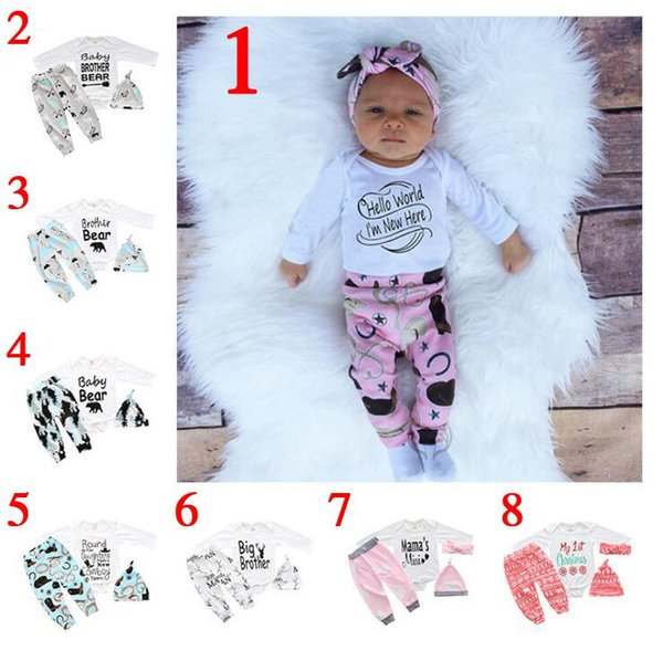 Baby girl INS letters rompers suit 7 Style Children Short sleeve triangle rompers+paillette shorts+bowknot Hair band 4pcs sets clothes Q-02