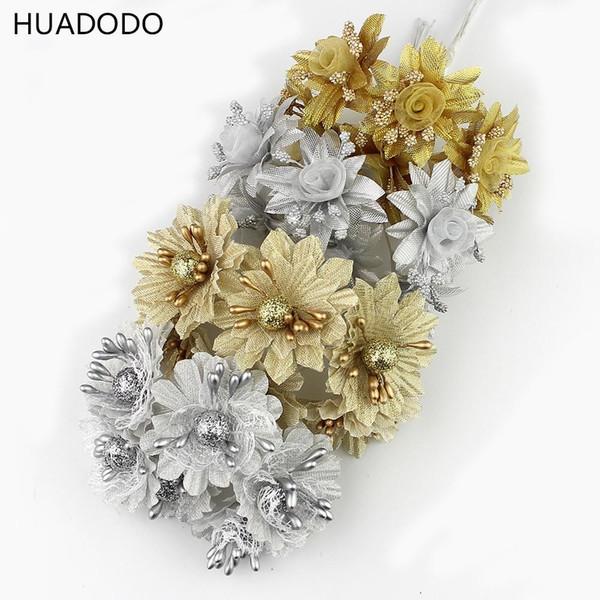 Alta calidad 60 unids / lote oro plata flor artificial del estambre para Scrapbook Wedding Party decoración flores / ramo de flores