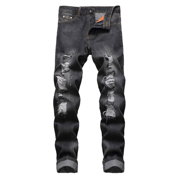CALOFE 2019 Hot Fashion Ripped Hole Jeans Men Hollow Out Beggar Cropped Motorcycle Biker Pants Mens Cowboys Demin Pants