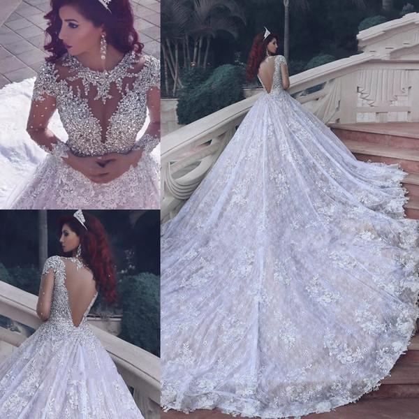 Blanc O-cou À Manches Longues Plus La Taille Robes De Mariée Robes De Mariée Perles Cristaux Vestidos De Noiva Robes De Mariée Robe De Mariage