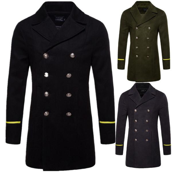 İngiliz Tarzı Kış Ceket Erkekler 2018 Yepyeni Kruvaze Trençkot Erkek Slim Fit Çizgili Palto Ceketler Manteau Homm