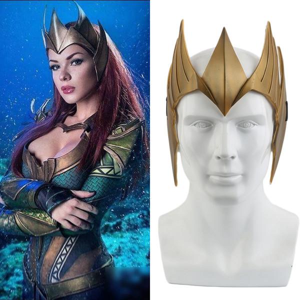 Traje de la Liga de justicia Aquaman Reina Mera Cosplay Máscara Casco Fiesta de Halloween Accesorios de navidad Regalo de PVC Máscara de oro Accesorios