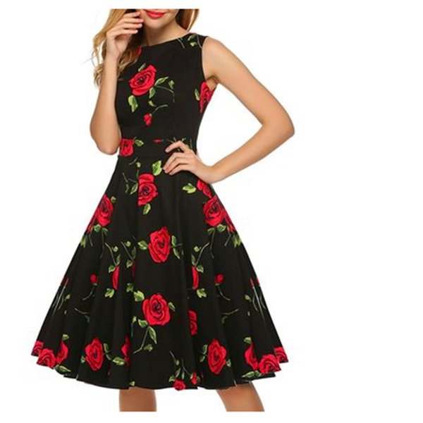 Vintage Hepburn Dresses Rose Floral Print Waist Swing Dress Retro Round collar sleeveless Dress Girl summer Party Dresses GGA1750