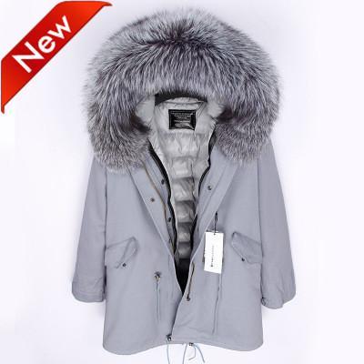 Yeni varış kadın Uzun aşağı parkas Büyük gerçek kürk yaka ile kapüşonlu bling bling şerit ceket