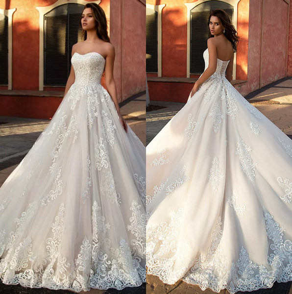 vestido de novia 2020 appliques tulle a-line wedding dresses vintage robe de mariee sleeveless simple bridal gowns with lace up back, White