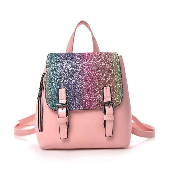 good quality Fashion Women Pu Leather Small Mini Backpack Bling Sequins School Bags For Adolescent Teenager Girl Backpack Women Mochila