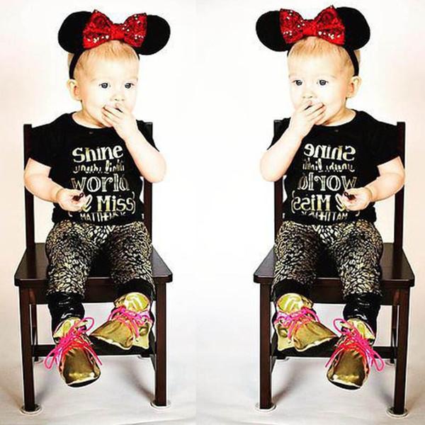 Ins bébé filles costumes lettre d'été T-shirts infantile T-shirt + pantalon léopard Harem nouveau-né bébé fille vêtements filles tenues infantile ensembles A5539
