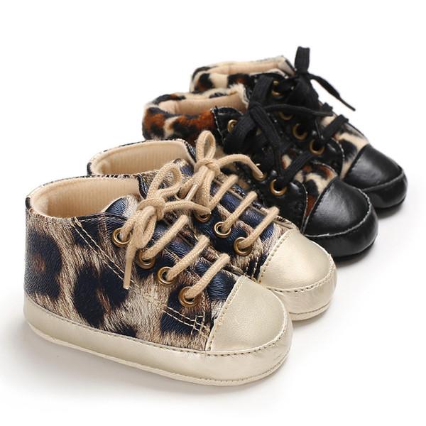Neonato Sneakers Mocassino Babies Crib Leopard print Scarpe Ragazzi Ragazze Soft Bottom Cuoio Cuoio Infantile Primi Camminatori