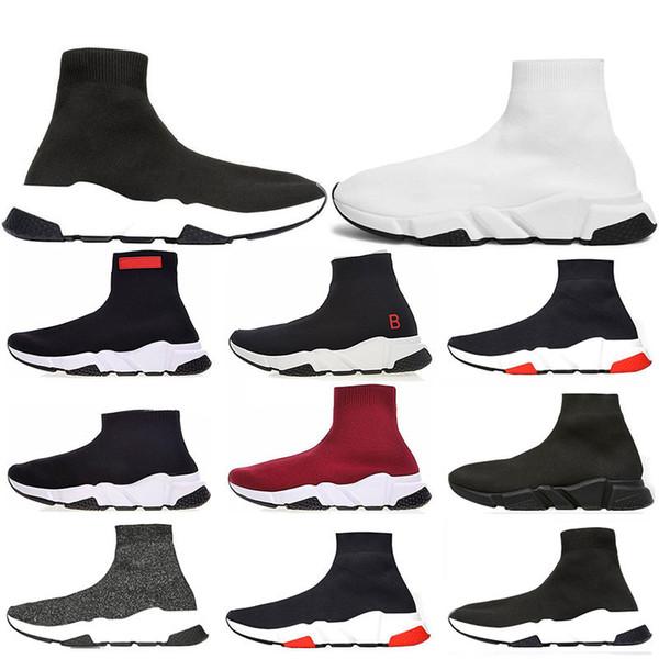 Balenciaga 2019 Hız Eğitmen Lüks Marka Ayakkabı kırmızı gri siyah beyaz Düz Klasik Çorap Çizmeler Sneakers Kadın Eğitmenler Koşucu boyutu 36-45